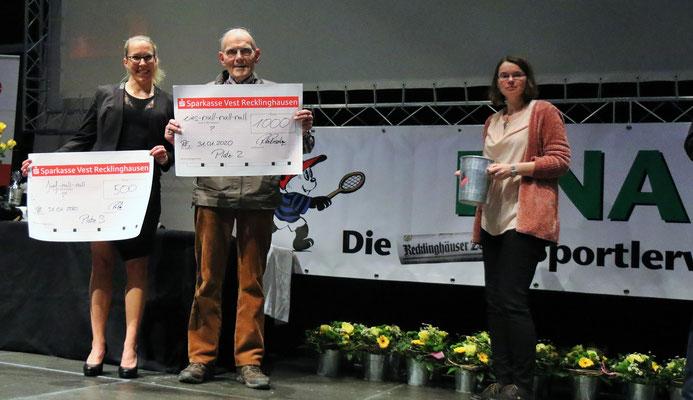 Eintausend Euro für den Lauftreff Recklinghausen e.V. durch das Los bei dem Jackpot der Fa. Rosenkranz.