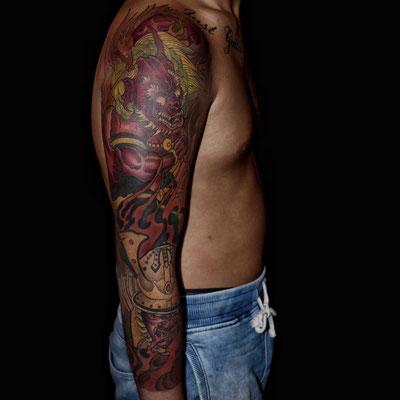 鬼,武者,タトゥー,刺青,tattoo,埼玉,さいたま市,大宮,浦和,jadetattoo,ジェイドカスタムインク,takuyanakayama,彫り師,彫師,jadecustomink