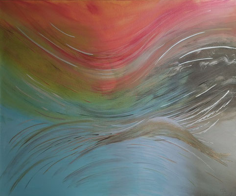 Acrylwerk Energien abstrakt Nr 1 Grösse 120 x 100 x 4.5 cm