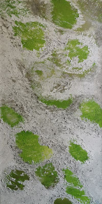 oeuvre en acryl abstrait, Frühlingsbote taille 40 x 80 x 4.5 cm