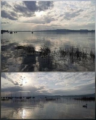 spiegelnde Wolken im Murtensee