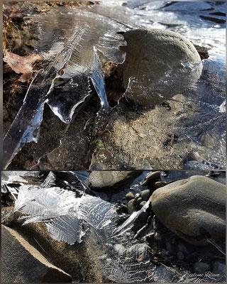 Evelyne Blums Art zu fotografieren zerbrochenes Eis von gefrorener Wasserpfütze