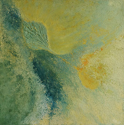 oeuvre en acryl abstrait, Blattgold, taille 40 x 40 x 4.5 cm