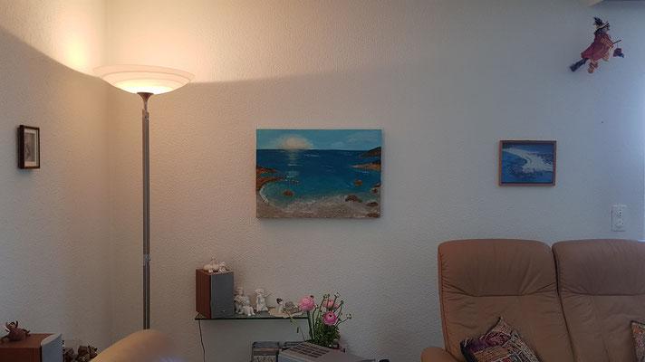 Kunst mit Wasser Acrylbild im Wohnzimmer