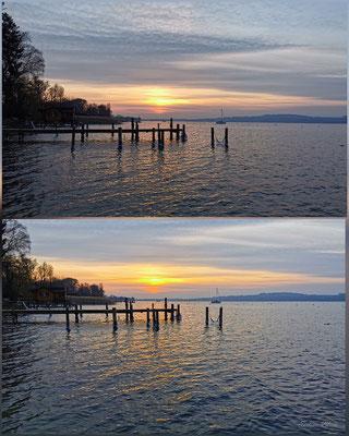 Evelyne Blum's Art zu fotografieren Sonnenuntergang Murten bei klirrender Kälte