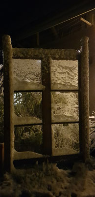 Gartenfenster Dekofenster Windschutz Winterbild