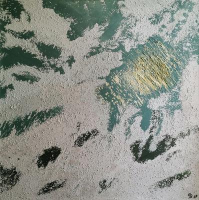 oeuvre en acryl abstrait, spiegelnde Sonne am Strand, taille 80 x 80 x 4.5 cm