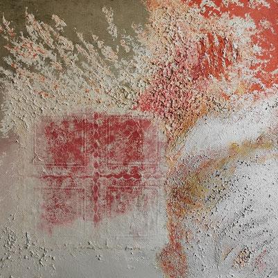 oeuvre en acryl abstrait, fenêtre de noël, taille 50 x 50 x 4.5 cm