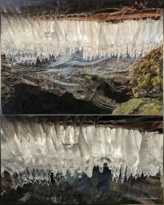 Evelyne Blums Art zu fotografieren dicke Eiszapfen wie Zähne aneinander in Murten