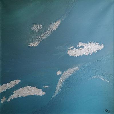 oeuvre en acryl abstrait, schäumendes Wasser, taille 80 x 80 x 4.5 cm