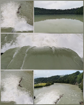 offene Schleuse beim Wasserkraftwerk Mühleberg
