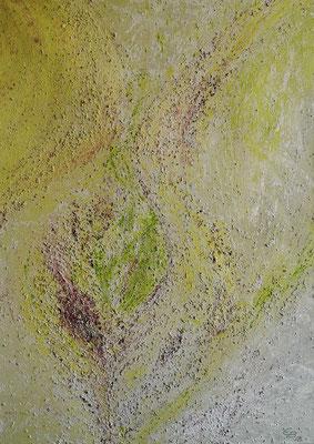 oeuvre en acryl abstrait, Lust auf Frühling, taille 50 x 70 x 4.5 cm