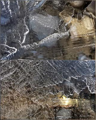 gefrorene Wasserpfütze mit Herz