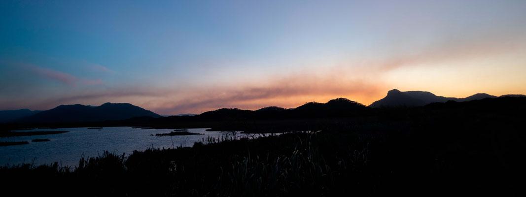 Notre dernier coucher de soleil à Ranco Humo