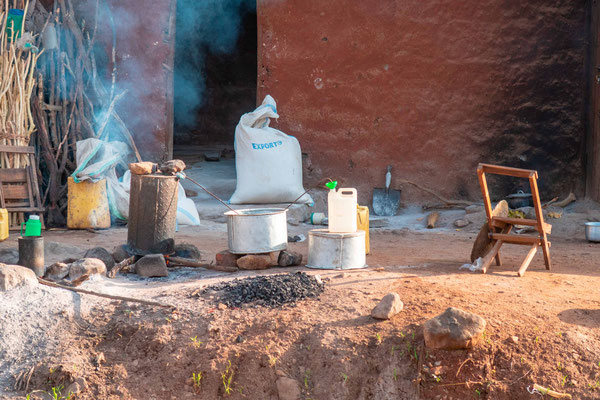Artisanal distillery on the roadside in the town of Moroto