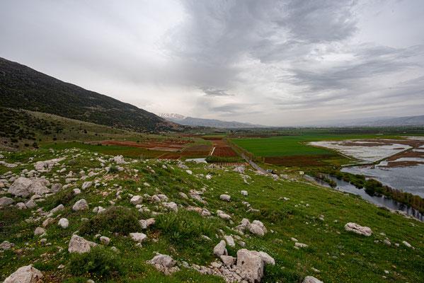 Vue sur le marais d'Aammiq depuis les collines environnantes.