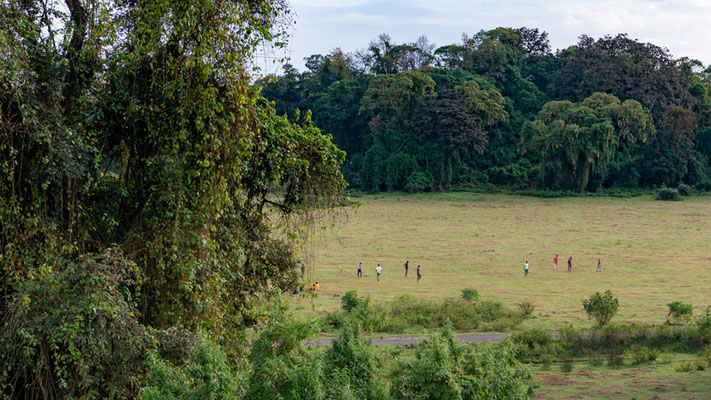 Improvised football match in the middle of the forest