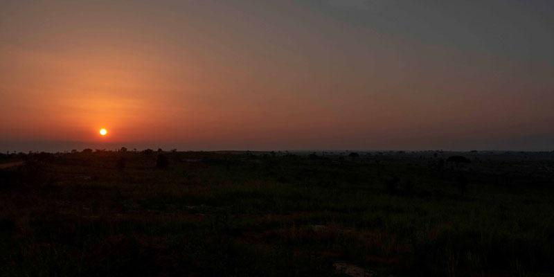 Coucher de soleil sue la savanne
