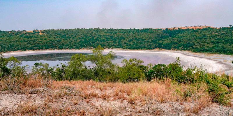 Lac volcanique entre Queen Elisabeth et Kibale, certains sont salés comme celui-ci...