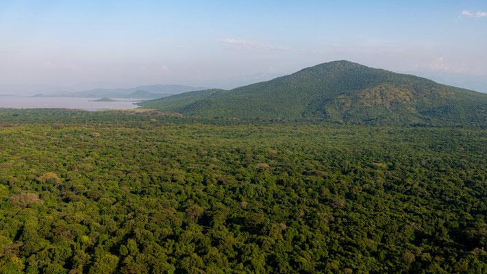 Vue depuis Arba Minch sur le parc national de Nech Sar et le lac Chamo