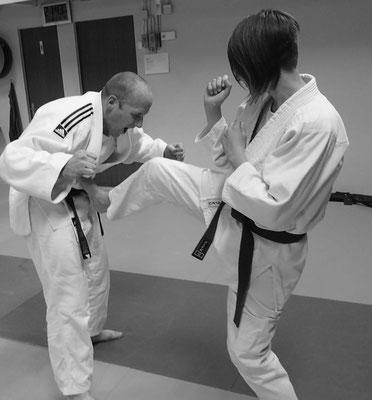 Ju-Jitsu - Impressionen aus dem Training - Abwehr mit Fusstritt