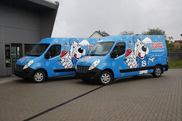 Vollverklebter Carwrapping Renault Master Fahrzeugbeschriftung Slush Puppy