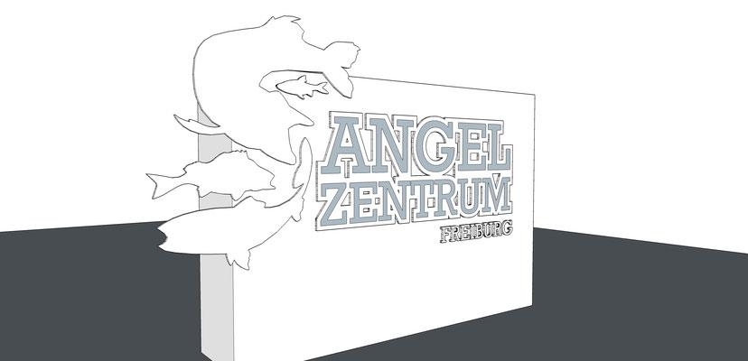 Eingangspylon mit gelaserten Einzelbuchstaben StyleWerk Werbetechnik