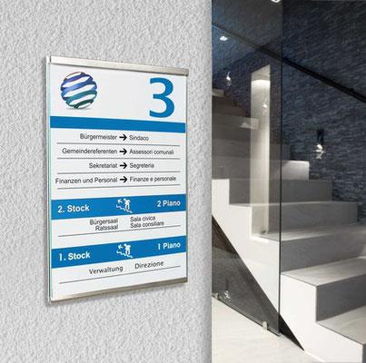 Leitsystem Innenbeschilderung Beschilderung Orientierungssystem StyleWerk Werbetechnik