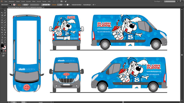 Entwurfsansicht Fahrzeugbeschriftung Slush Puppy