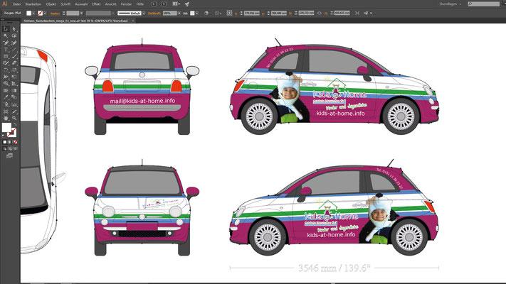 Entwurfsansicht Fahrzeugwerbung Kids@Home Fiat500 Carwrapping