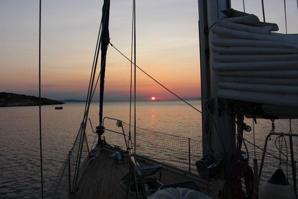 Sonnenuntergang an der Insel Fleves