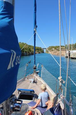 Einfahrt in den Corinth Kanal