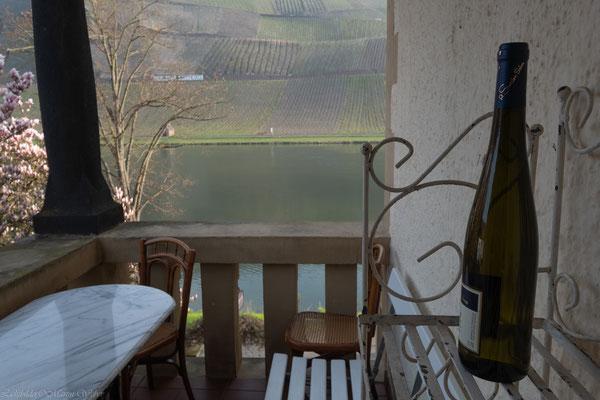 Überdachter Balkon mit malerischem Ausblick auf die Mosel, Schiffsanleger und die Weinberge. Hier wird gegrillt und gechillt mit unserer rauchfreien Lotusgrillart.