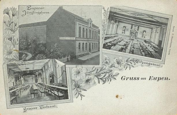 Das Jünglingshaus wurde um 1870 auf Initiative von Jakob Wintgens, dem Gründer des Eupener Jünglingsvereins, errichtet.