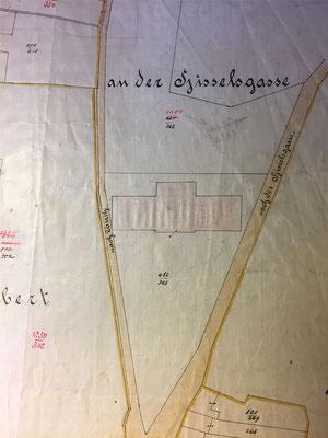 Lageplan der ehemaligen Mädchenschule aus dem 19. Jahrhundert.
