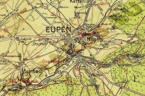 Karte von Eupen - 1930