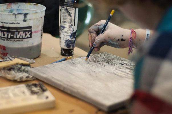 mit acryl und ölfarben malen auf leinwand