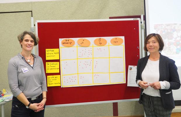Die Vortragende und die Schulleitung präsentieren eine Tabelle, in der überwiegend positive Rückmeldungen zur Fortbildung gesammelt wurden