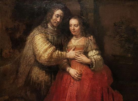 Rembrandt van Rijn: Die Judenbraut, Öl auf Leinwand, 121.5 × 166.5 cm, 1667 fertiggestellt
