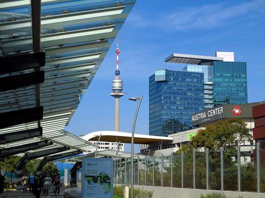 Austria Center, im Hintergrund der Saturn-Tower und der Donauturm