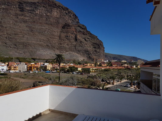 Valle Gran Rey, Blick von der Terrasse der Casa Antonio nach S (Vueltas)