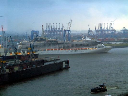 """Die """"MSC Preziosa"""" verlässt den Hamburger Hafen. (https://de.wikipedia.org/wiki/MSC_Preziosa)"""
