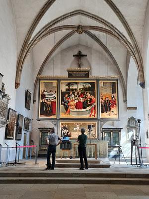 """St. Marien, Altarbild von Lucas Cranach dem Älteren und Lucas Cranach dem Jüngeren (""""Reformationsaltar"""")"""