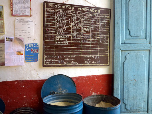 Preistafel im Kolonialwarengeschäft