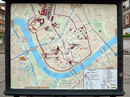 Stadtplan des ehemaligen Judenviertels Kazimierz