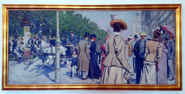 Maximilian Lenz (1860-1948): Sirk-Ecke, Öl auf Leinwand 1900. Der berühmte Ringstraßen-Corso zwischen Oper und Schwarzenbergplatz in einer Momentaufnahme.