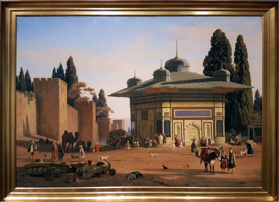 Martinus Christian Rørbye (1803-48, DK): Well on St Sophie's Square near the Gate of Seraglio in Constantinople, 1846