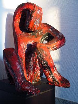 Figur. Gips, mit Acryl bemalt, Höhe 56 cm