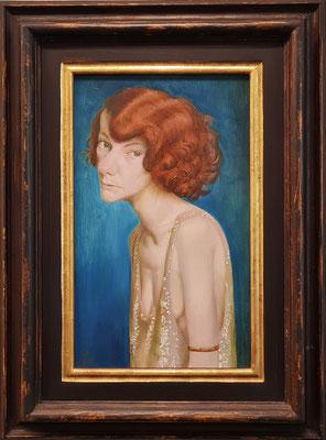 Rothaarige Frau (Damenporträt), 1931, Mischtechnik auf Leinwand auf Tischlerplatte