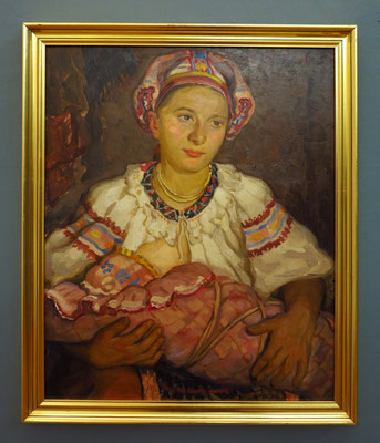 Štefan Polkoráb: Mother and Child, Öl auf Holz, 1934
